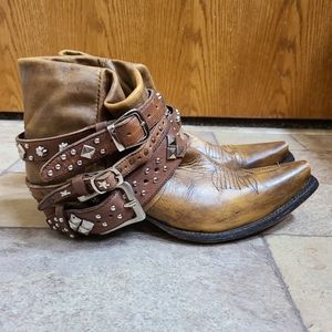 Old Gringo Brown Leather Studded Straps Booties